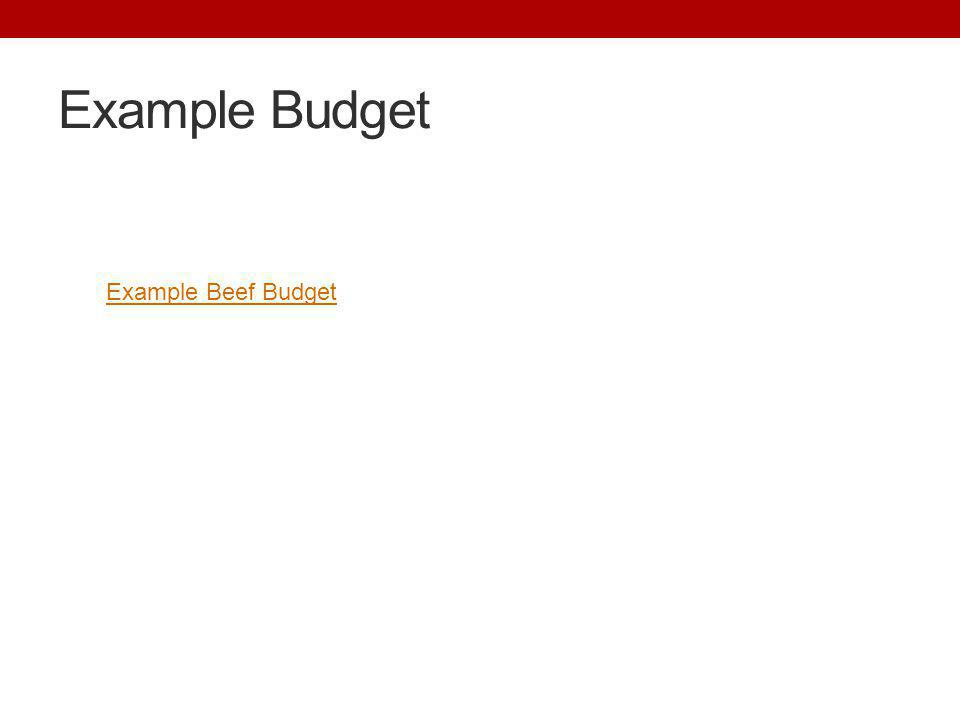 Example Budget Example Beef Budget