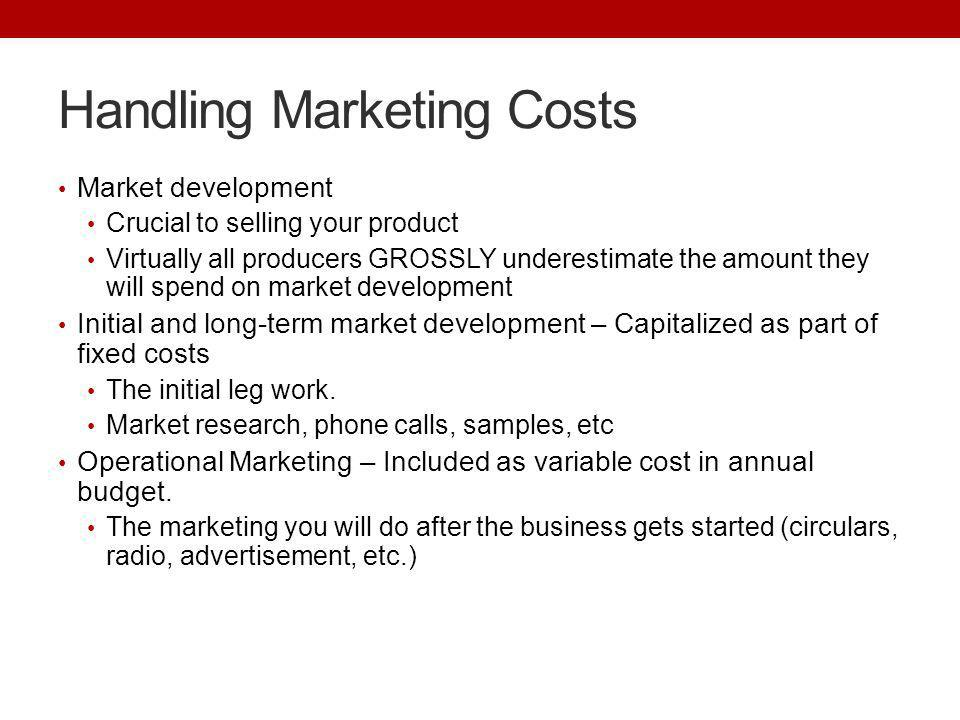 Handling Marketing Costs