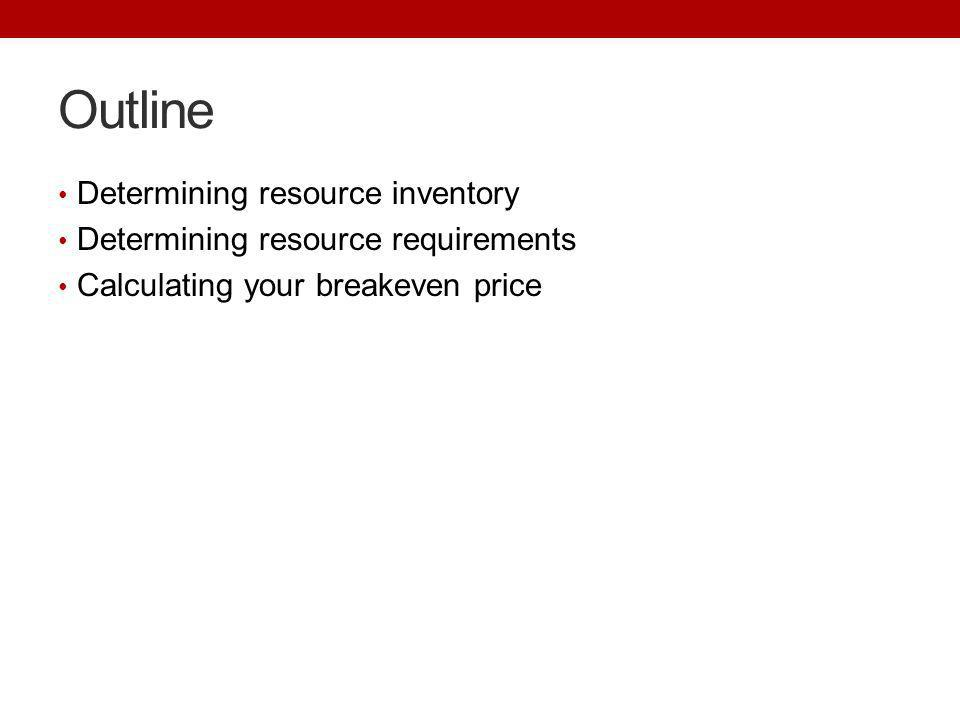 Outline Determining resource inventory