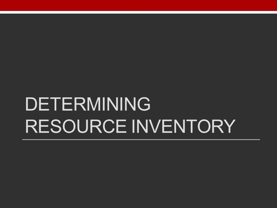 Determining resource inventory
