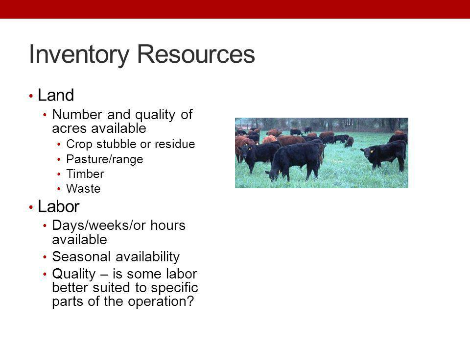 Inventory Resources Land Labor Number and quality of acres available