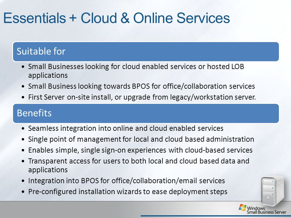 Essentials + Cloud & Online Services