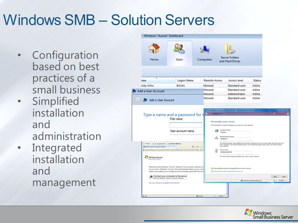 Windows SMB – Solution Servers