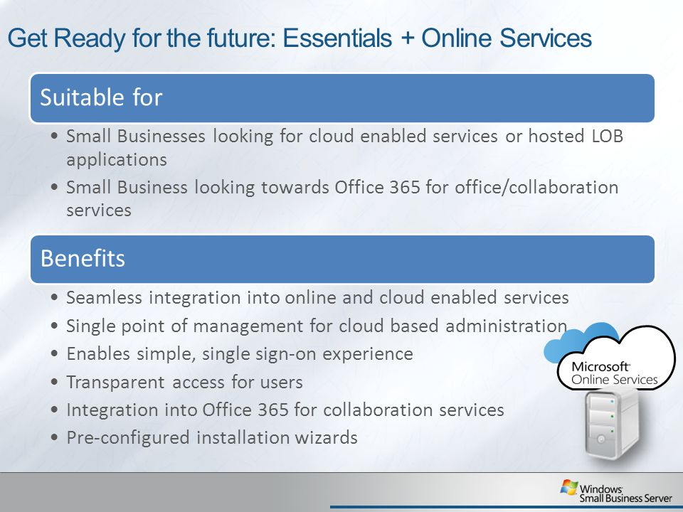 Get Ready for the future: Essentials + Online Services