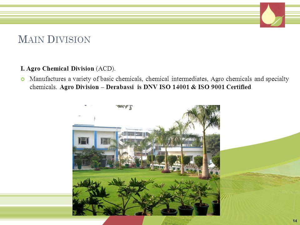 Main Division I. Agro Chemical Division (ACD).