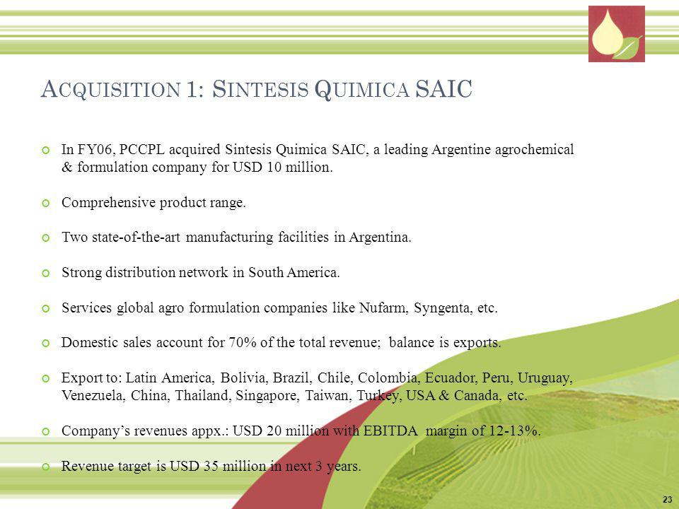 Acquisition 1: Sintesis Quimica SAIC