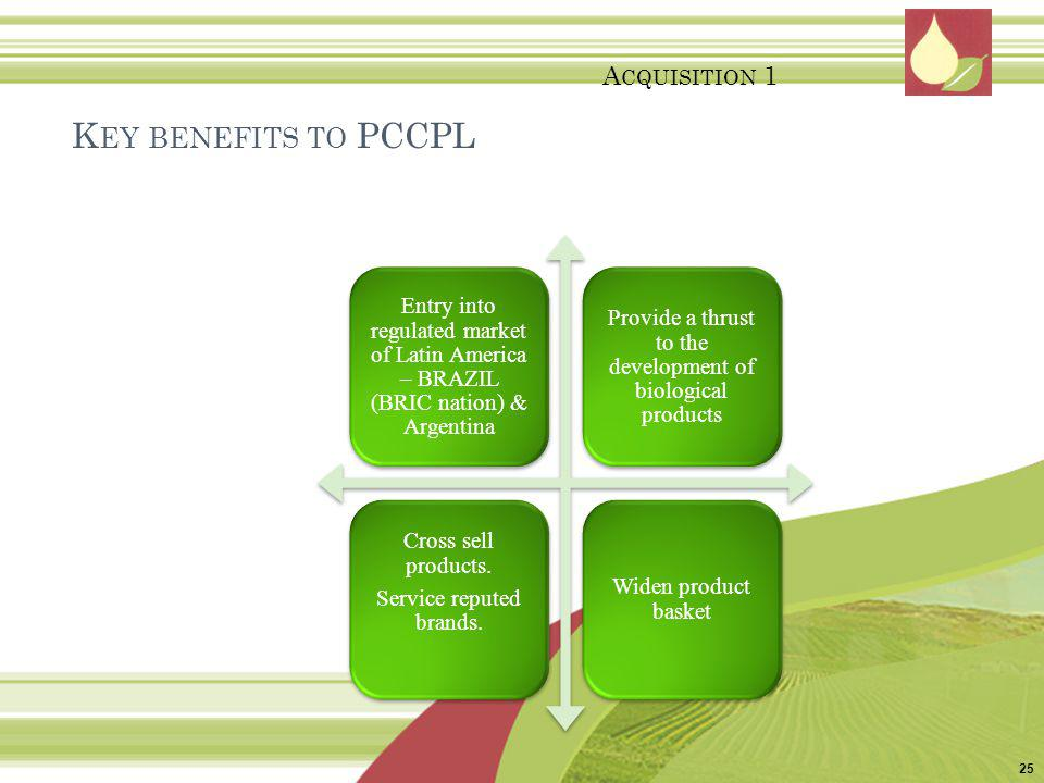 Key benefits to PCCPL Acquisition 1