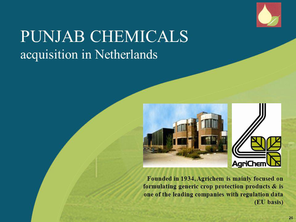 PUNJAB CHEMICALS acquisition in Netherlands