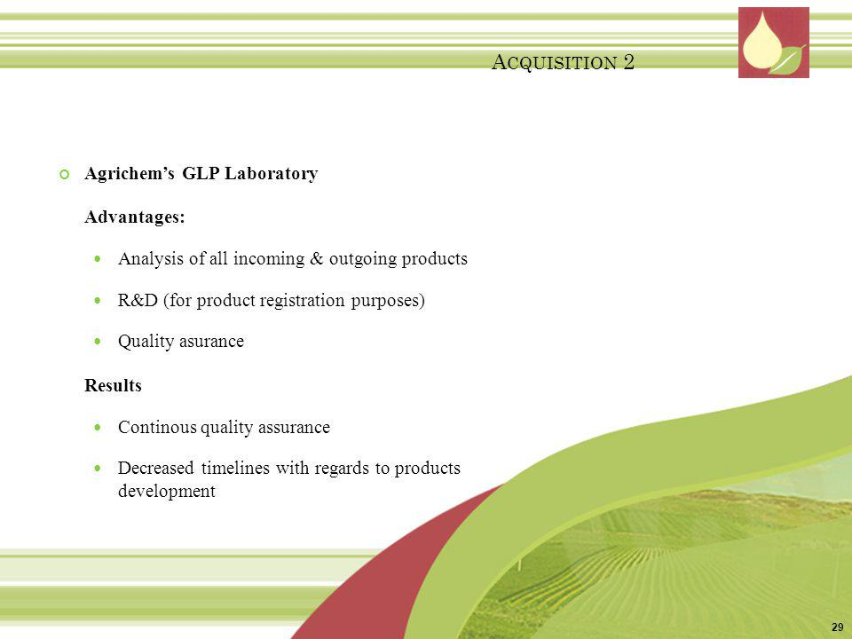 Acquisition 2 Agrichem's GLP Laboratory Advantages: