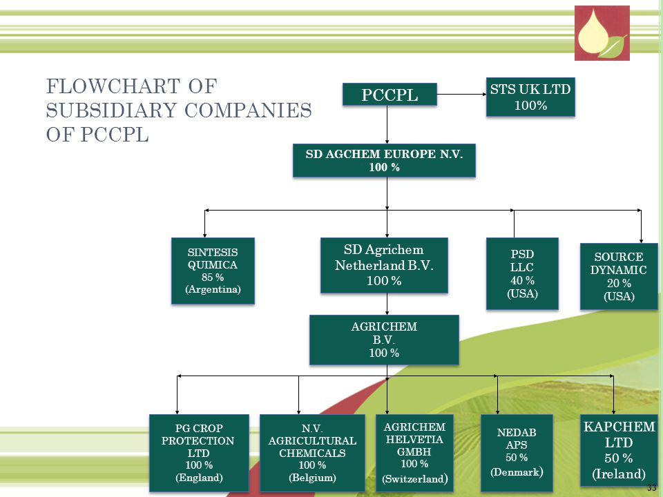 FLOWCHART OF SUBSIDIARY COMPANIES OF PCCPL