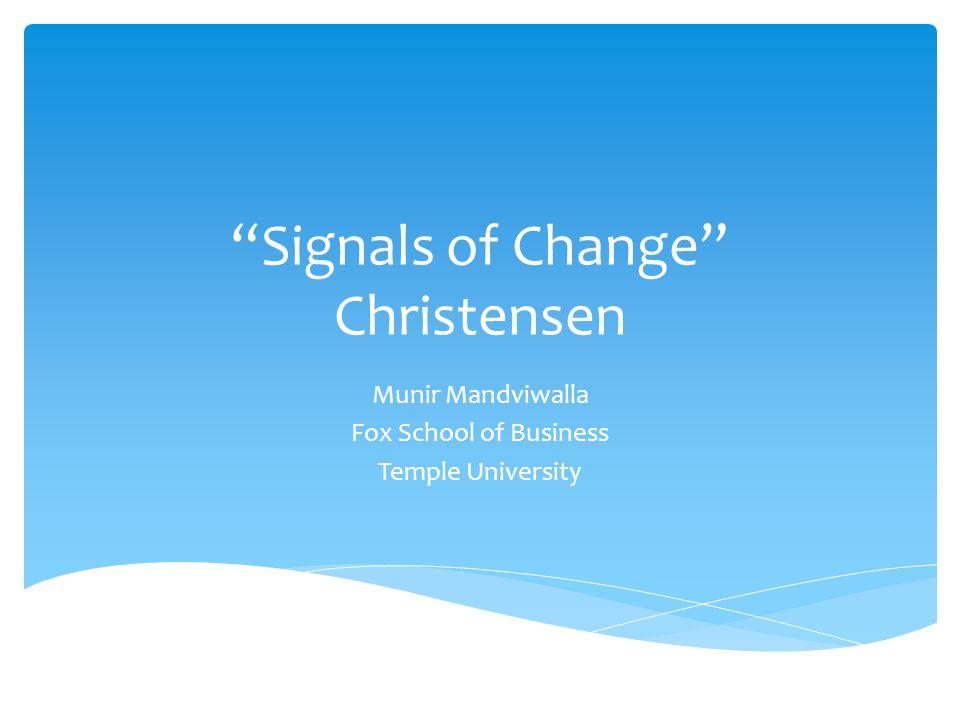Signals of Change Christensen