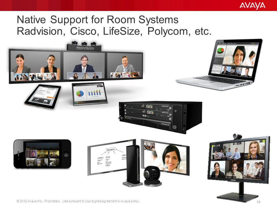 Native Support for Room Systems Radvision, Cisco, LifeSize, Polycom, etc.