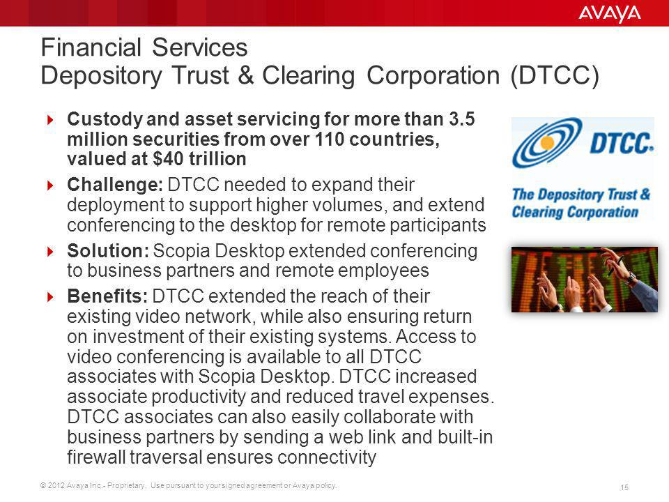 Financial Services Depository Trust & Clearing Corporation (DTCC)