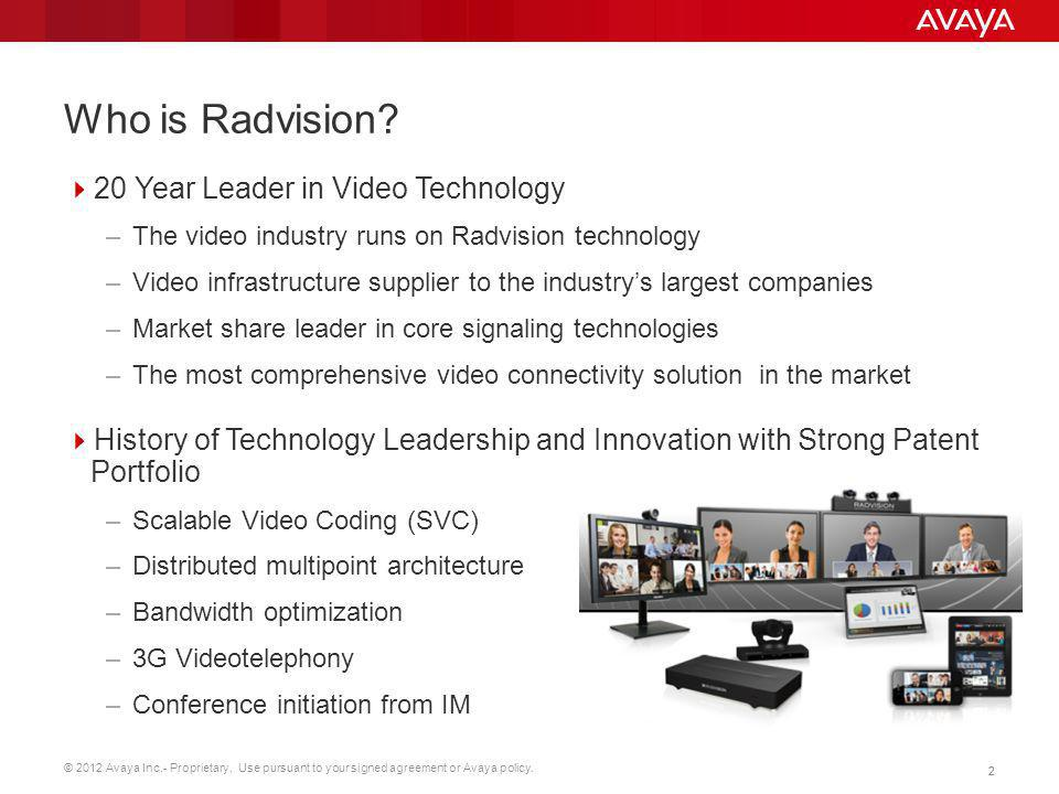 Who is Radvision 20 Year Leader in Video Technology