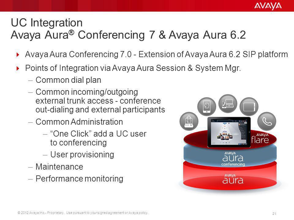 UC Integration Avaya Aura® Conferencing 7 & Avaya Aura 6.2
