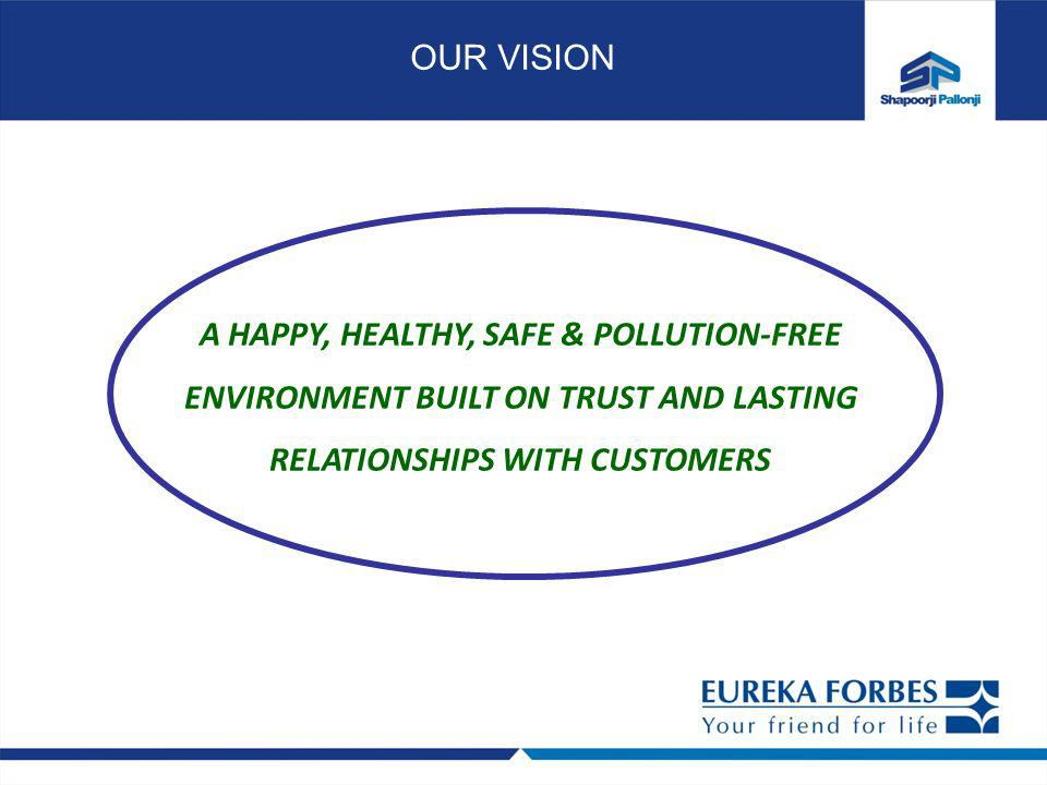 OUR VISION A HAPPY, HEALTHY, SAFE & POLLUTION-FREE ENVIRONMENT BUILT ON TRUST AND LASTING RELATIONSHIPS WITH CUSTOMERS.