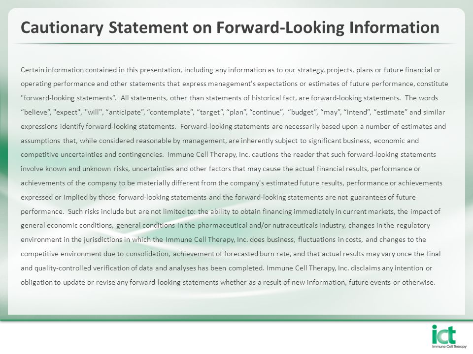 Cautionary Statement on Forward-Looking Information