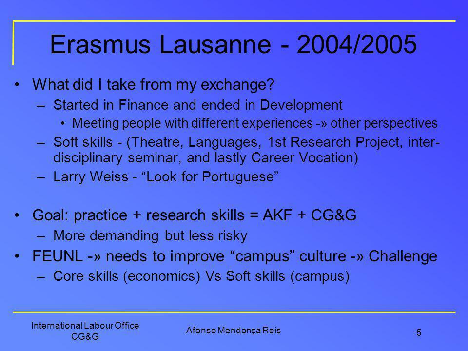 Erasmus Lausanne - 2004/2005 What did I take from my exchange
