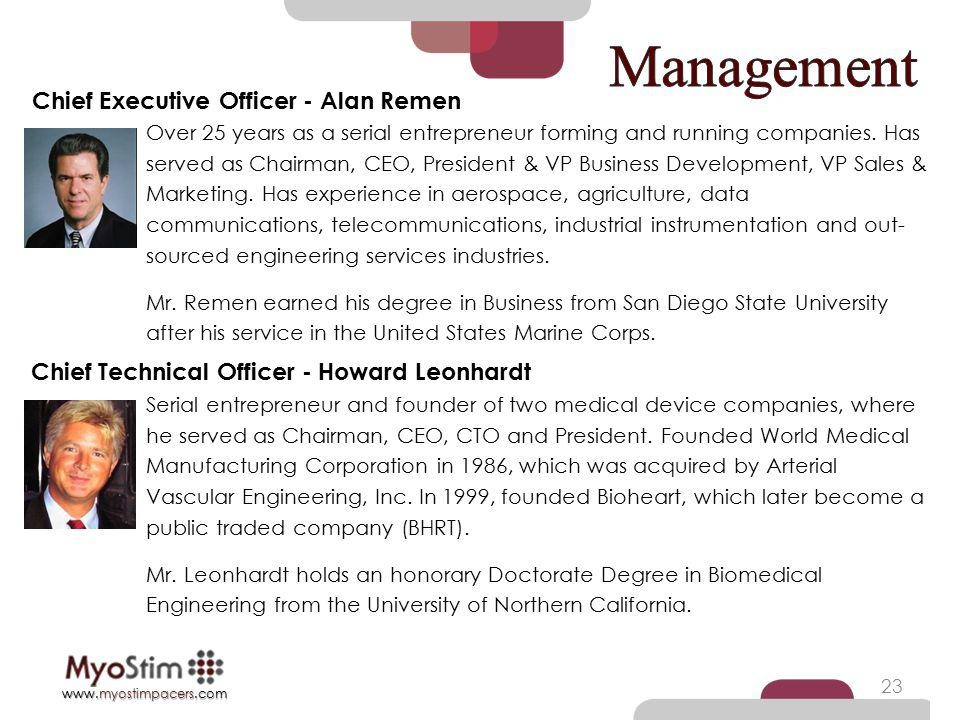 Management Chief Executive Officer - Alan Remen