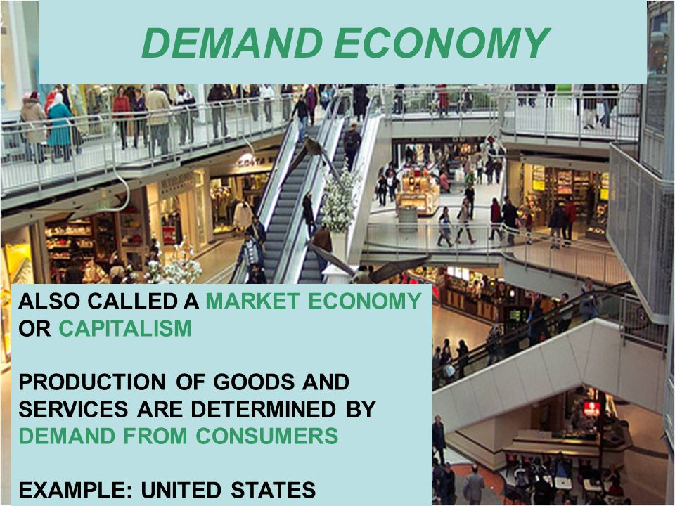 DEMAND ECONOMY ALSO CALLED A MARKET ECONOMY OR CAPITALISM