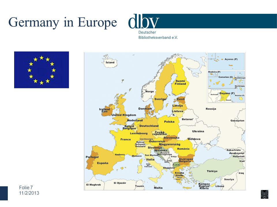 Germany in EuropeWe have to keep in mind, that - geographically seen - Germany is right in the centre of Europe.