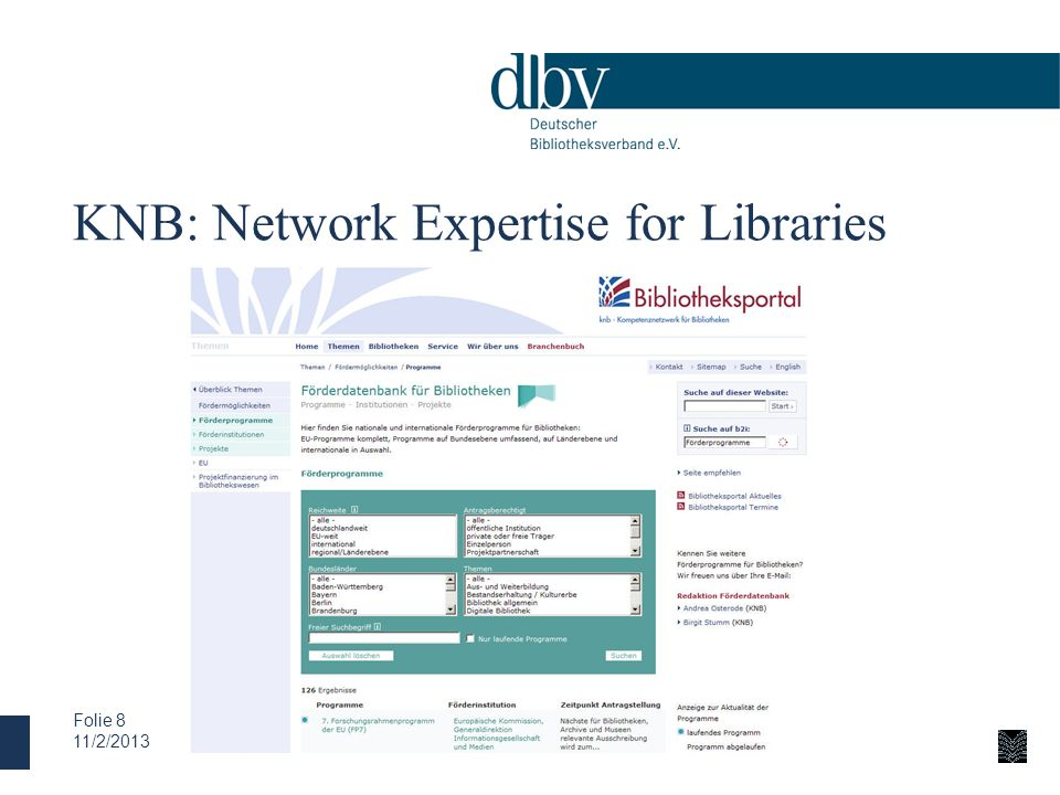 KNB: Network Expertise for Libraries