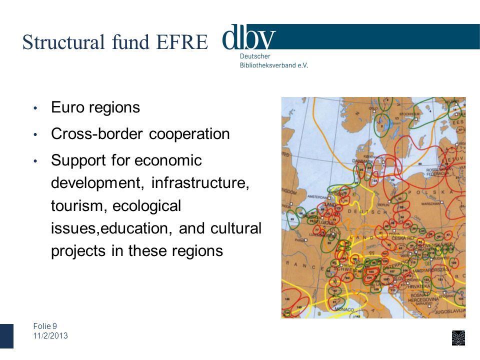 Structural fund EFRE Euro regions Cross-border cooperation
