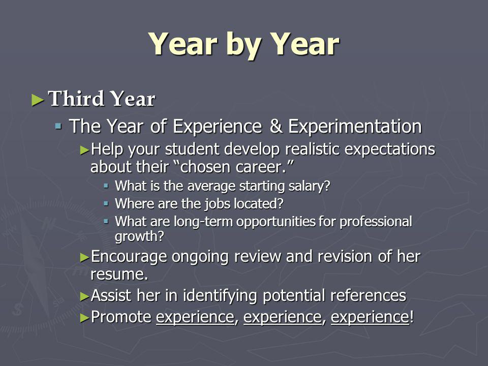 Year by Year Third Year The Year of Experience & Experimentation
