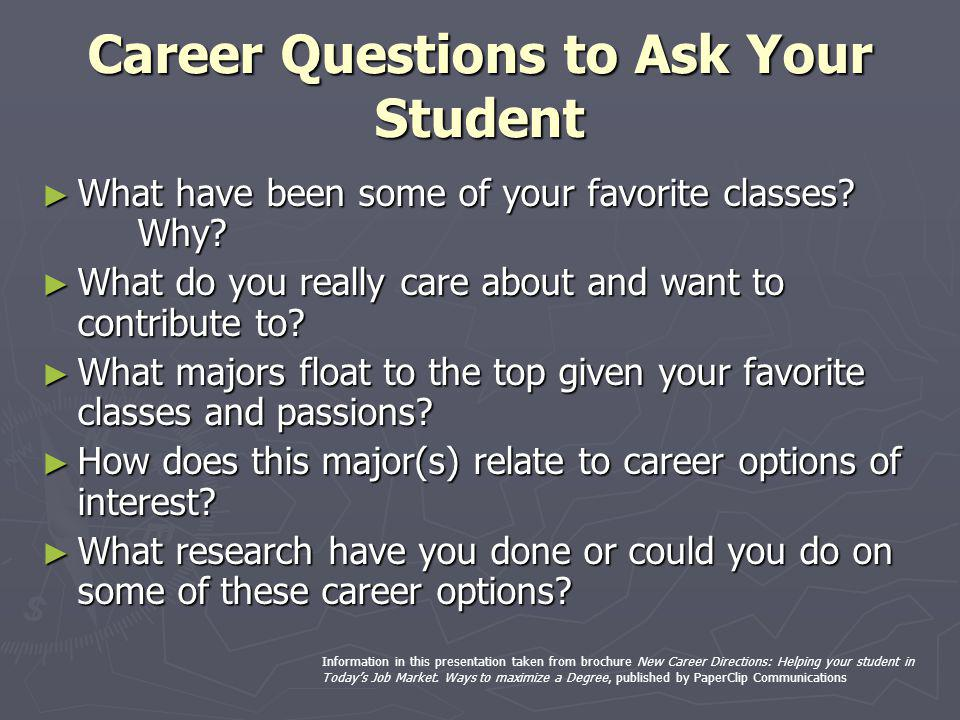 Career Questions to Ask Your Student