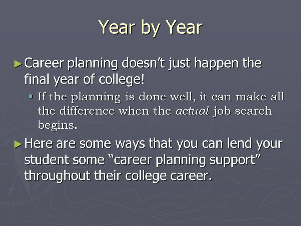 Year by Year Career planning doesn't just happen the final year of college!