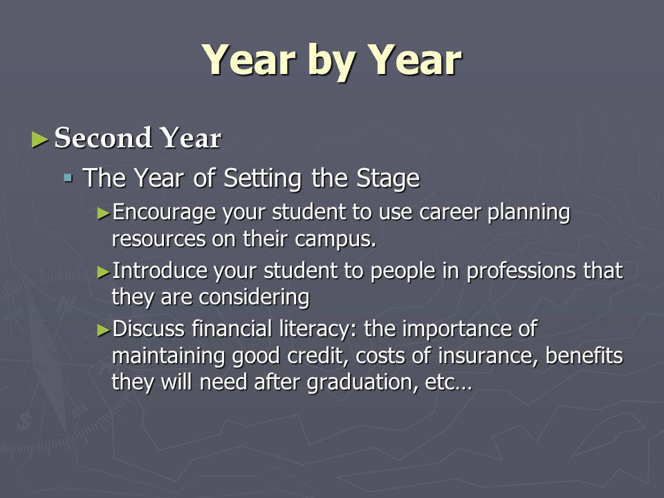 Year by Year Second Year The Year of Setting the Stage
