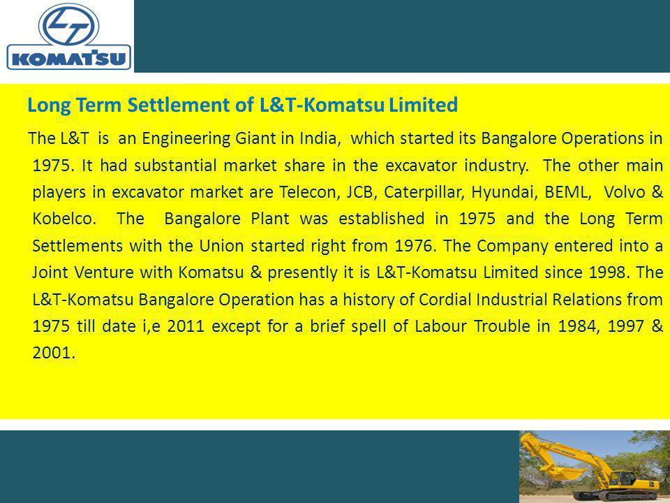 Long Term Settlement of L&T-Komatsu Limited