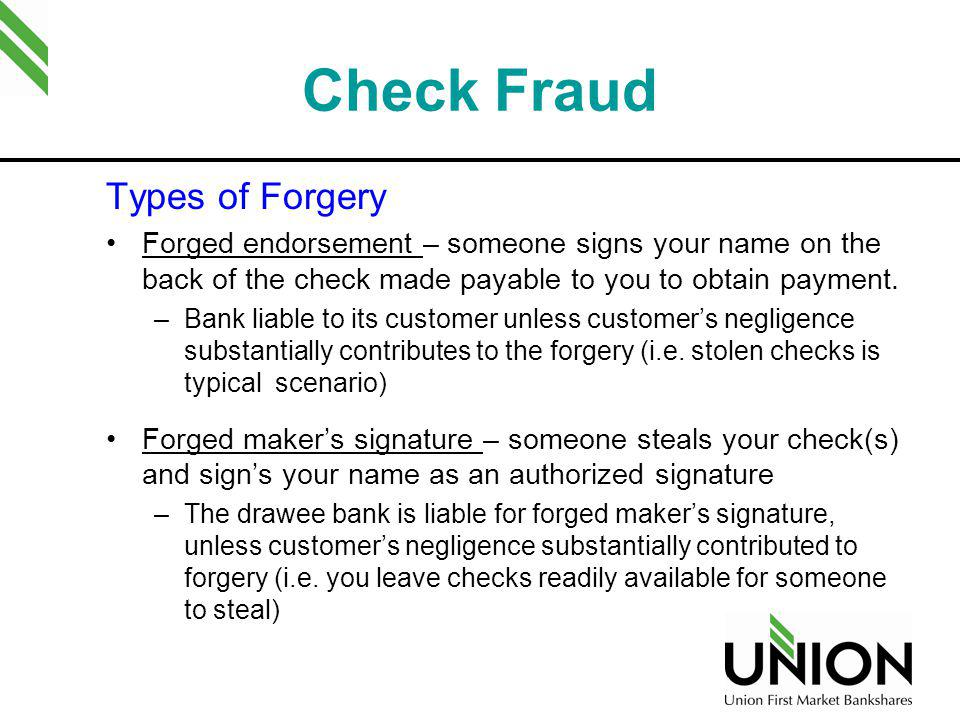 Check Fraud Types of Forgery
