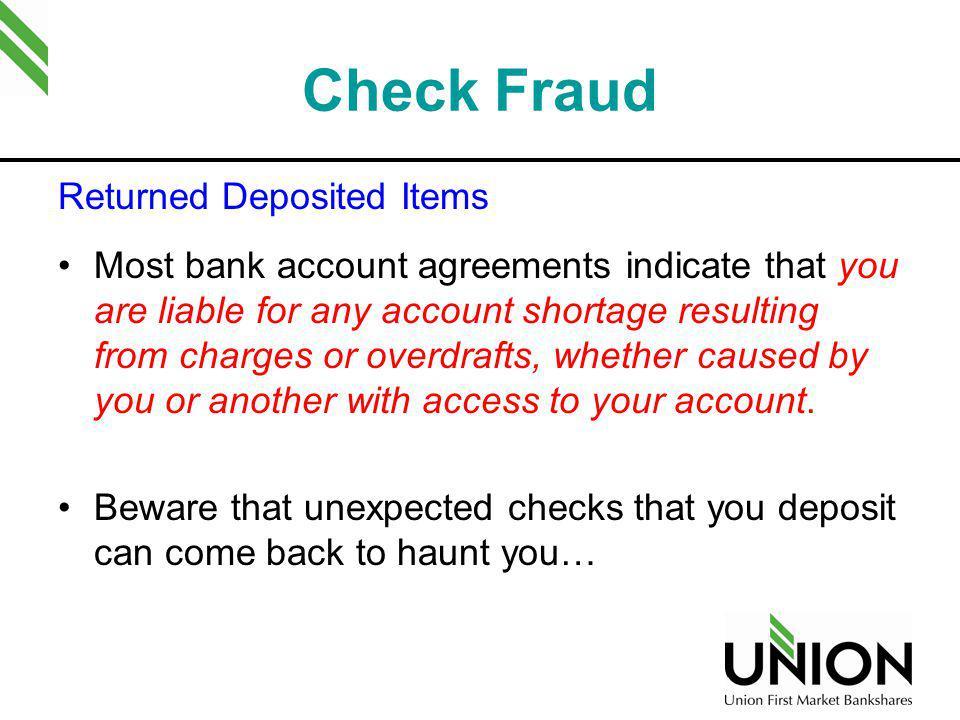 Check Fraud Returned Deposited Items