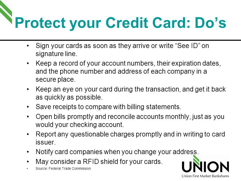 Protect your Credit Card: Do's