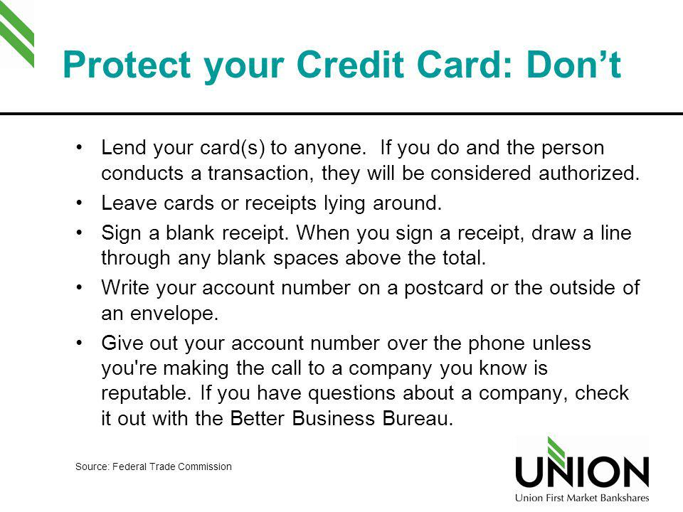 Protect your Credit Card: Don't