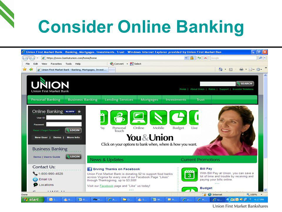 Consider Online Banking