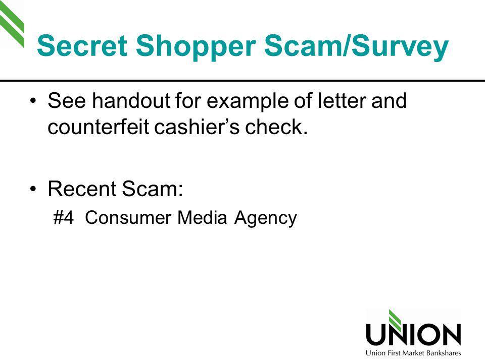 Secret Shopper Scam/Survey