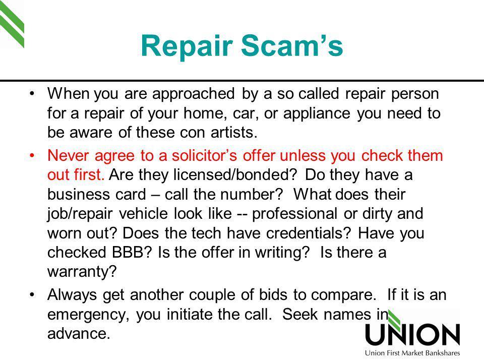 Repair Scam's