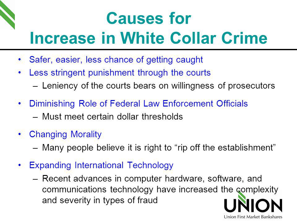 Causes for Increase in White Collar Crime