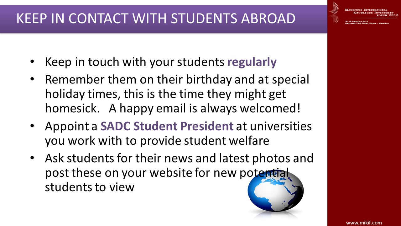 KEEP IN CONTACT WITH STUDENTS ABROAD