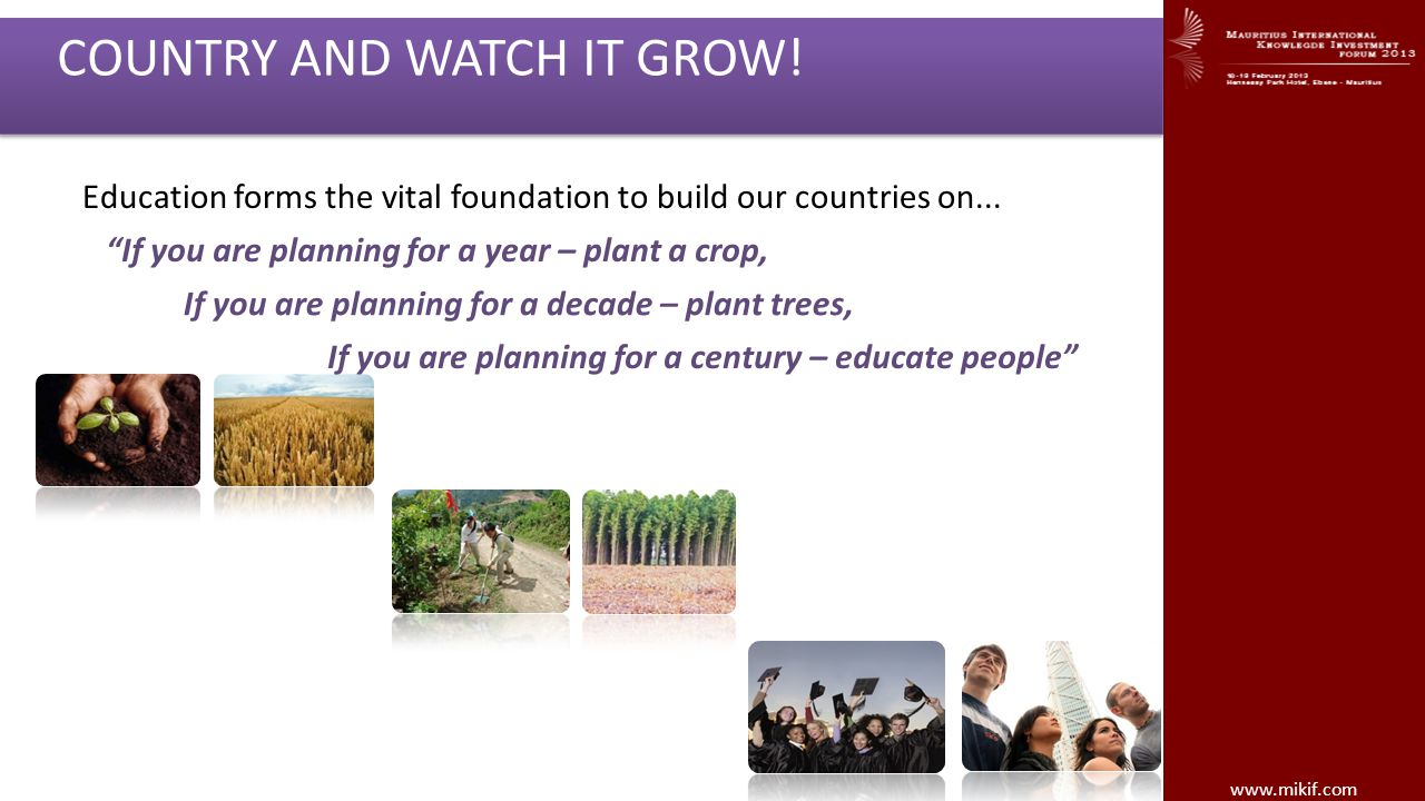 GIVE BACK TO YOUR COMMUNITY, YOUR COUNTRY AND WATCH IT GROW!