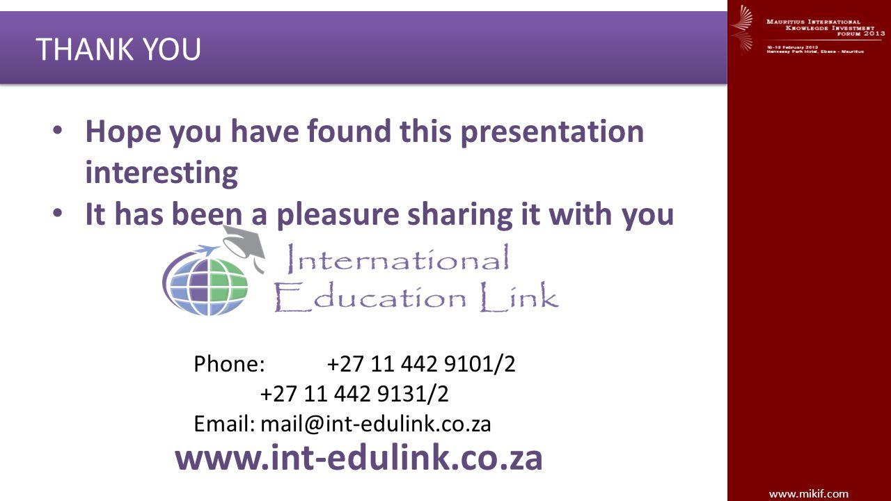 www.int-edulink.co.za THANK YOU