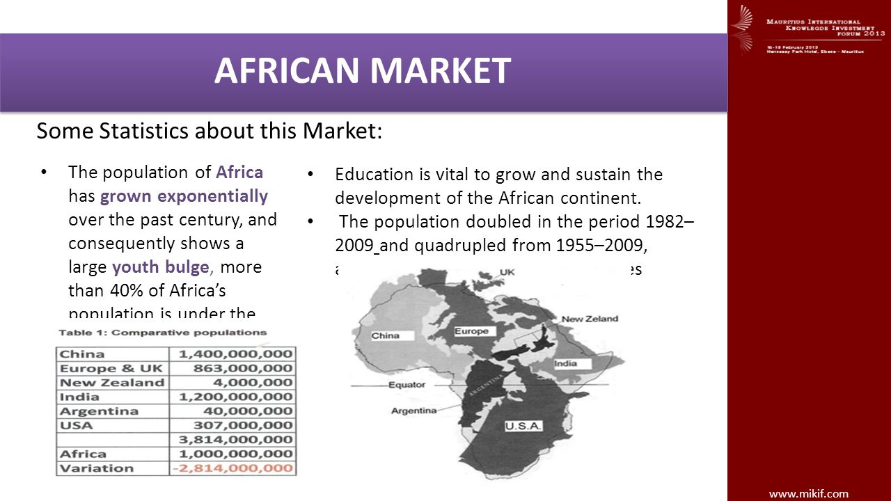 AFRICAN MARKET Some Statistics about this Market: