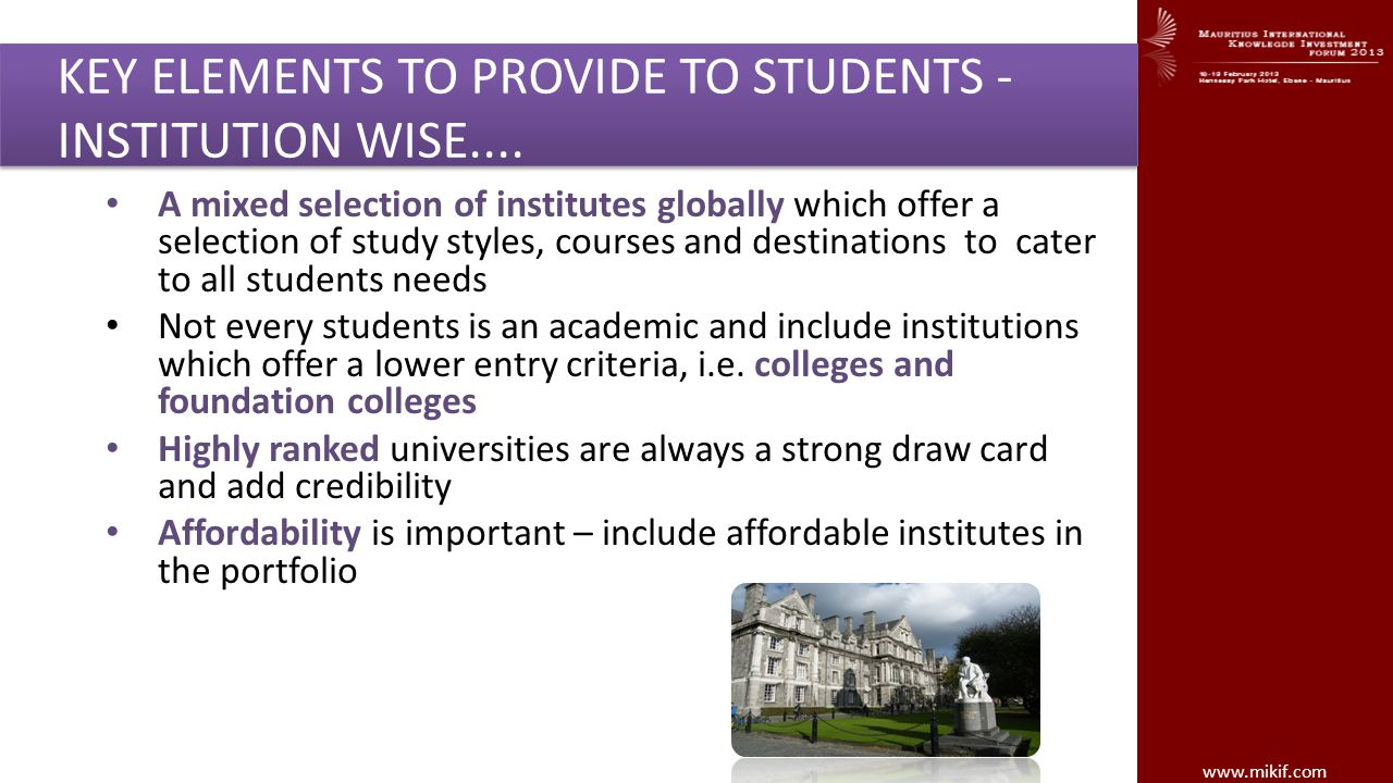 KEY ELEMENTS TO PROVIDE TO STUDENTS - INSTITUTION WISE....
