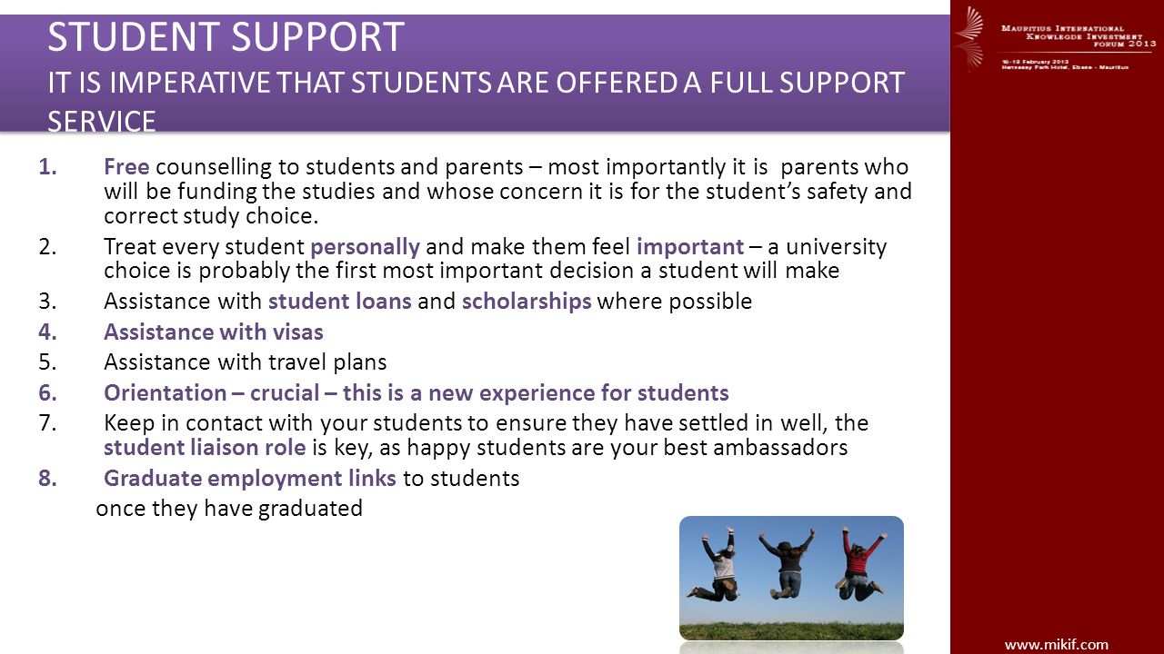 STUDENT SUPPORT IT IS IMPERATIVE THAT STUDENTS ARE OFFERED A FULL SUPPORT SERVICE