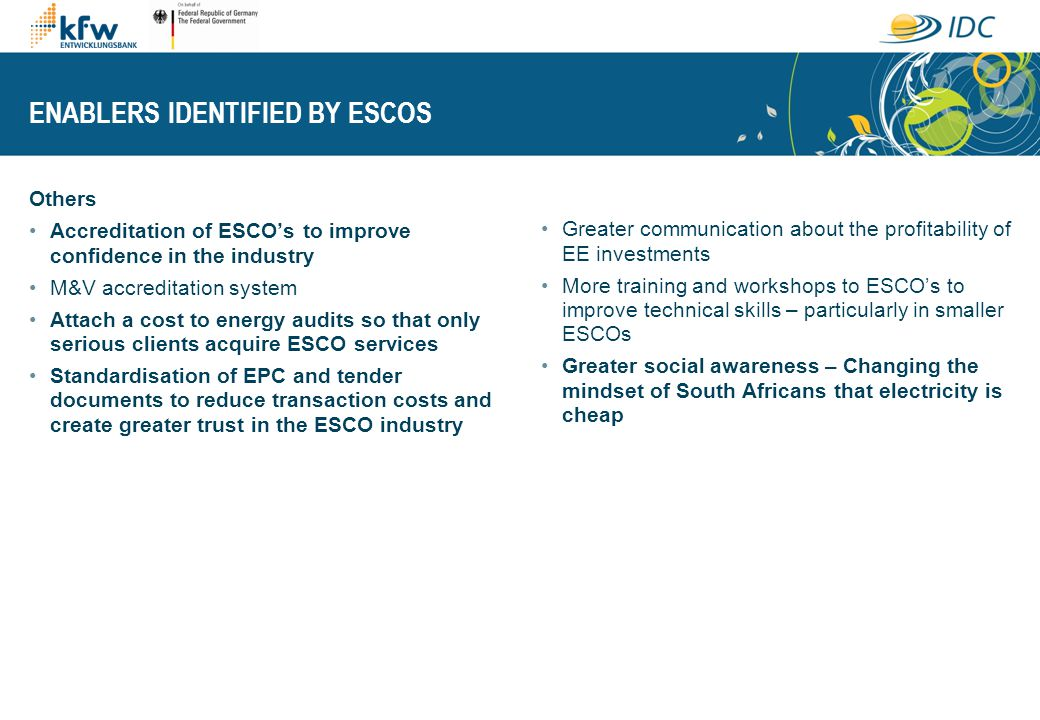 ENABLERS IDENTIFIED BY ESCOS