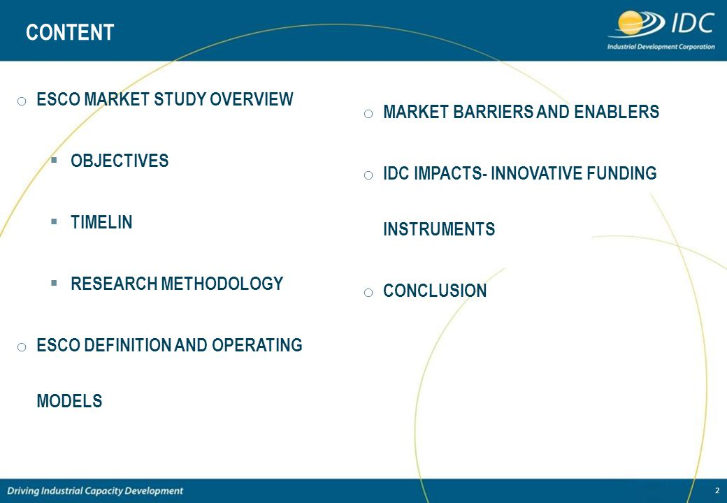 CONTENT ESCO MARKET STUDY OVERVIEW MARKET BARRIERS AND ENABLERS