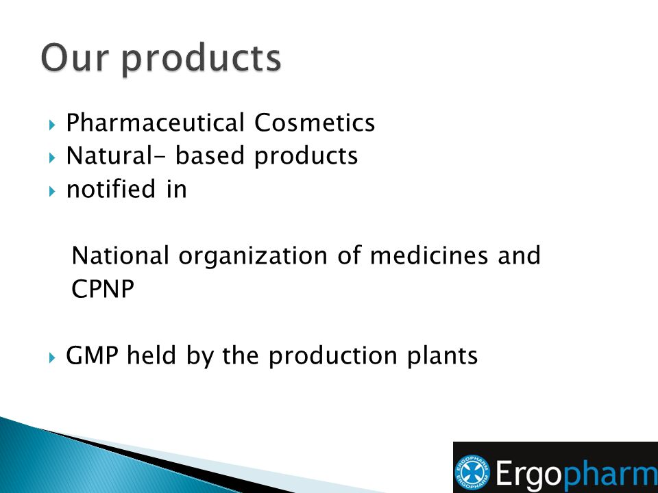 Our products Pharmaceutical Cosmetics Natural- based products