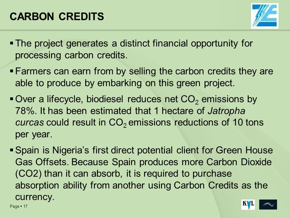 CARBON CREDITS The project generates a distinct financial opportunity for processing carbon credits.